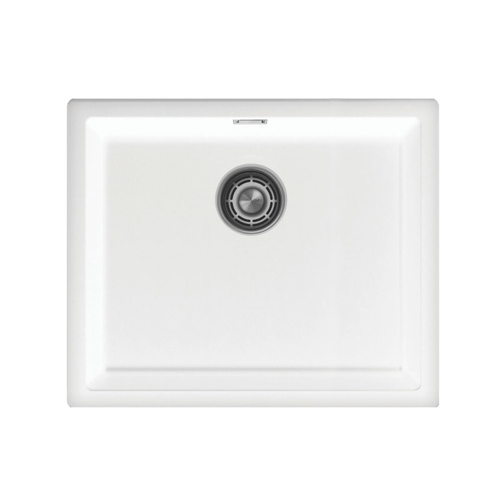 सफ़ेद किचन बेसिन - Nivito CU-500-GR-WH Brushed Steel Strainer ∕ Waste Kit Color