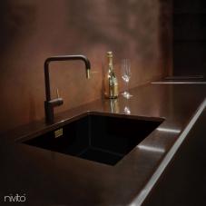 पीतल/गोल्ड रसोई नल काला/गोल्ड/पीतल - Nivito 2-RH-340-BISTRO