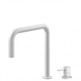 White Kitchen Mixer Tap Pullout hose / Seperated Body/Pipe - Nivito RH-330-VI